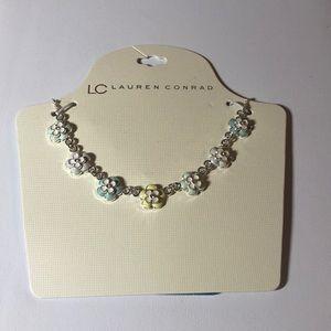 LC Lauren Conrad Enamel Flower Necklace Silver New